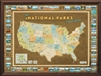National Parks Push Pin Map - Framed and Personalized