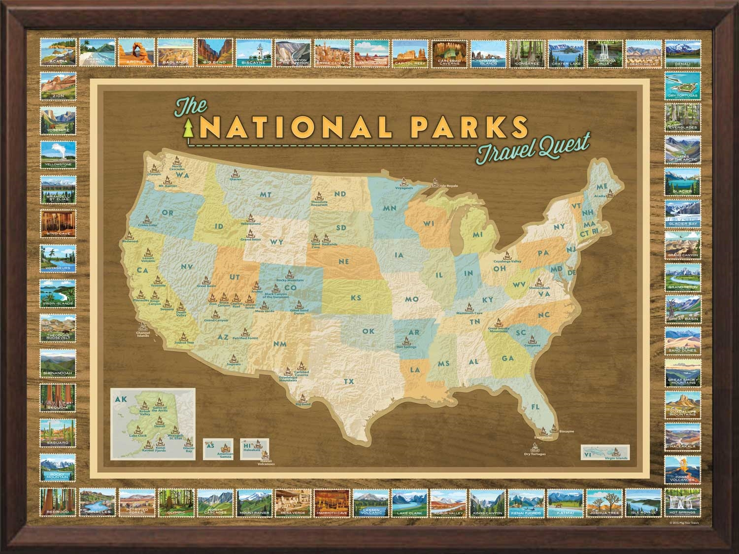 National parks push pin map framed and personalized from alternative views gumiabroncs Image collections