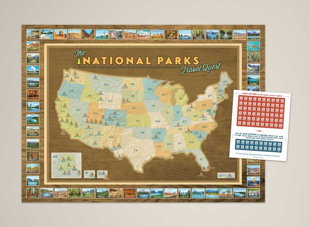 National parks push pin map framed and personalized from bookmark and share gumiabroncs Image collections