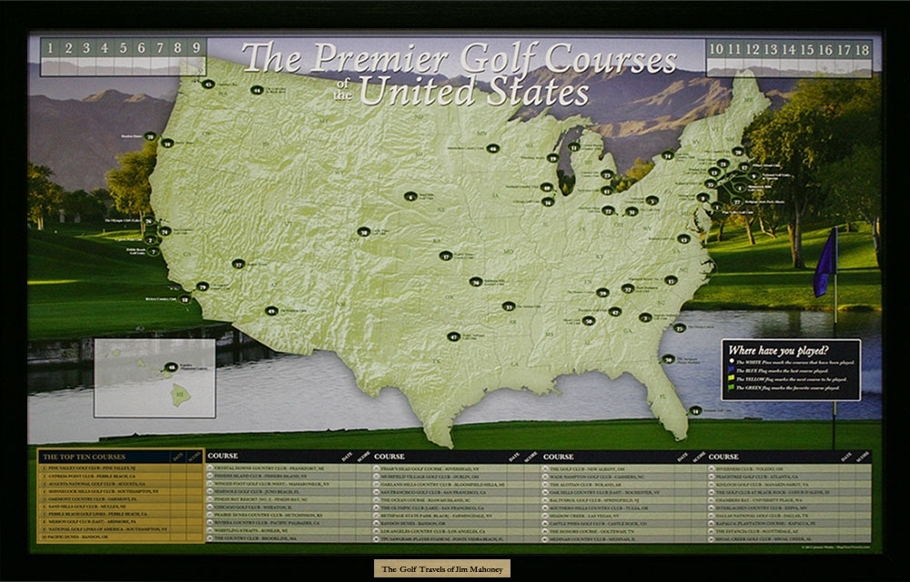 Usa golf course push pin map framed and personalized from alternative views gumiabroncs Gallery