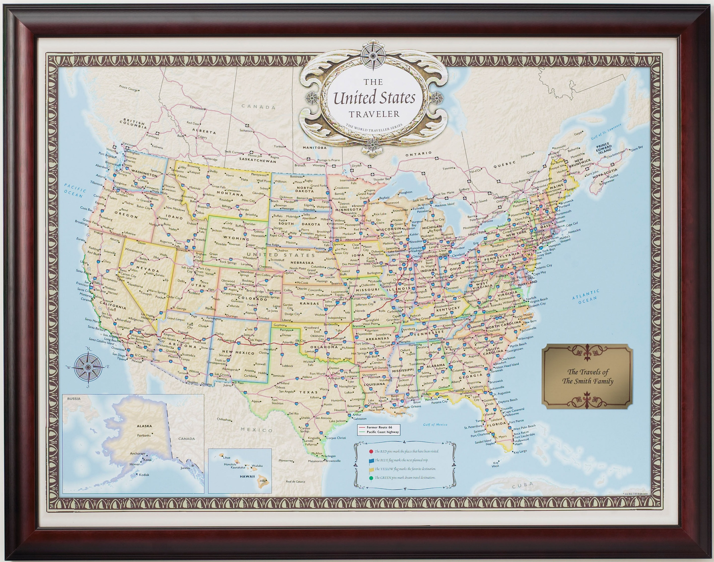 United States Traveler Push Pin Map Personalized From OnlyGlobes - Framed us map