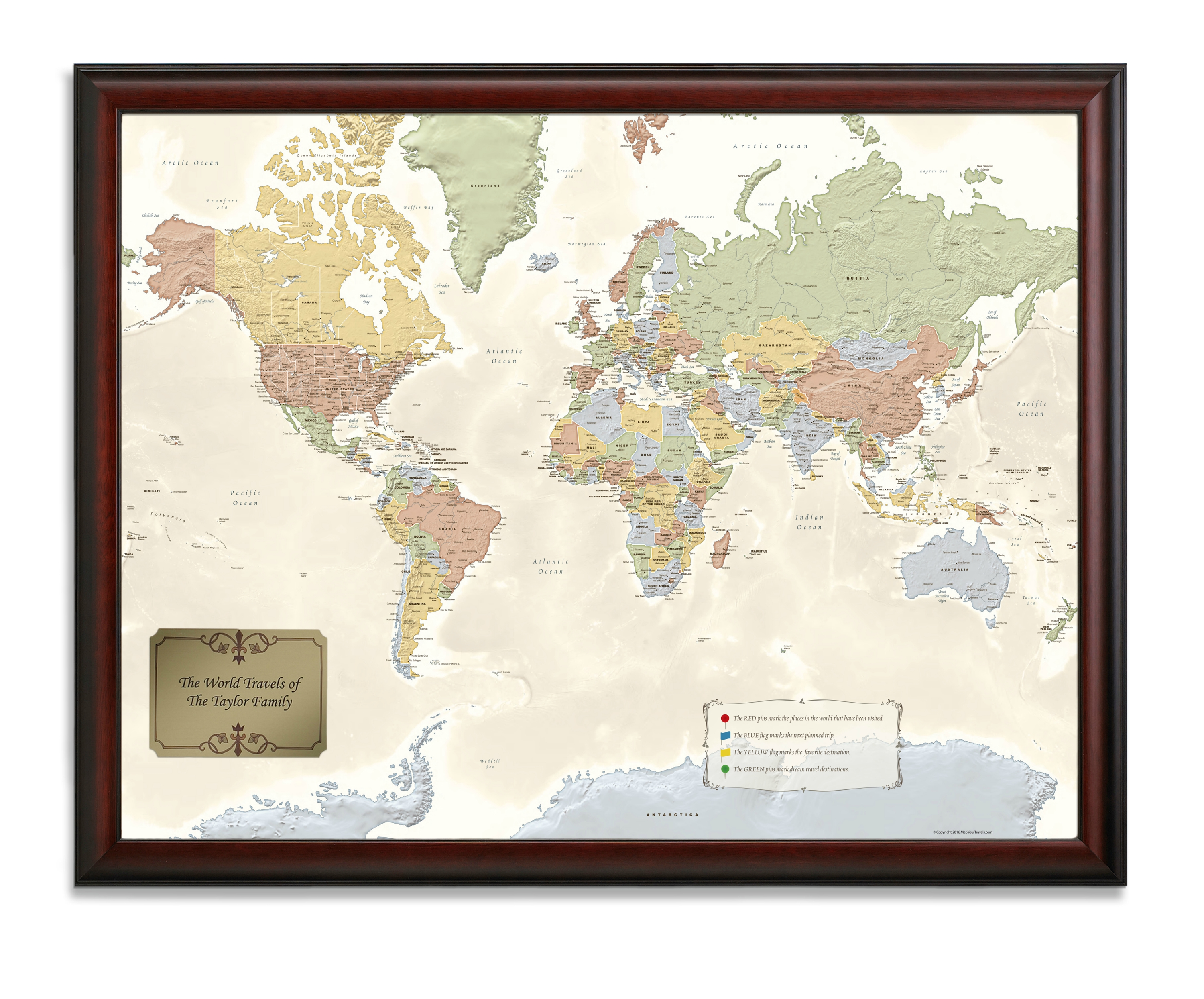 Framed World Map With Push Pins World Traveler Map   Personalized from OnlyGlobes.  Free Shipping!