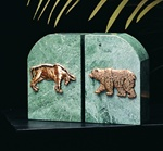 Green Marble Stock Market Bookends from Bey-Berk