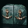 Green veined Marble Anchor Bookends