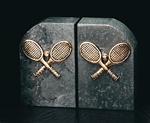 Green Marble Tennis Rackets Bookends