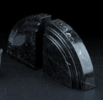 Quarter Circle Arch of Black Marble Bookends