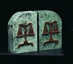 Green Marble with Scales of Justice Bookends