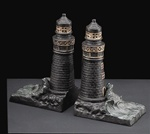 Bronze Lighthouse with Ocean Wave Bookends
