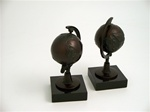 Revolving Bronze Globe Bookends