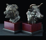 Bronze Bull and Bear Head Bookends