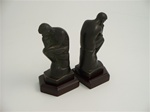 Bronze Thinker Bookends