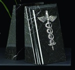 Black Marble Medical Bookends