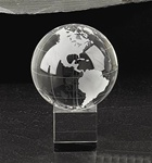 4 Inch Glass Globe on Glass Cube