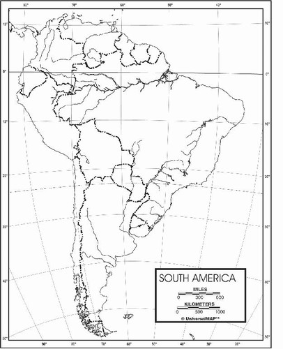 South America Outline Map From OnlyGlobes.com