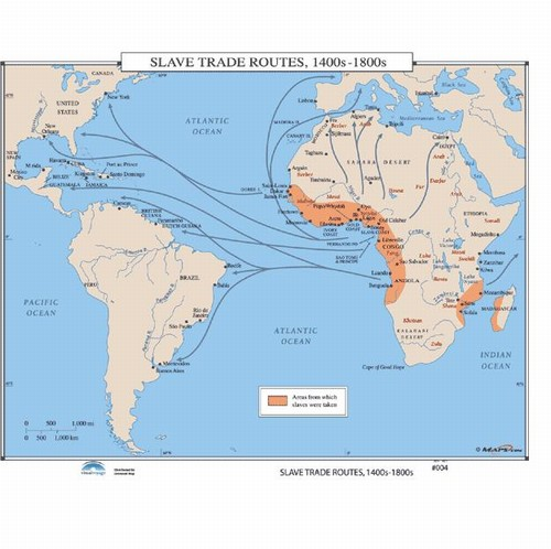 Map Of The Slave Trade Routes Ss From OnlyGlobescom - 1800s world map