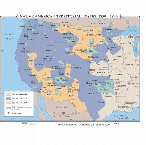 Map of Native American Territorial Losses 18501890 from OnlyGlobescom