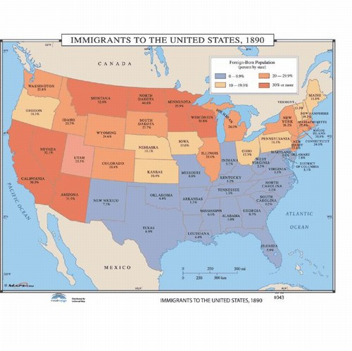 Map Of Immigrants To The US OnlyGlobescom - Us map 1890