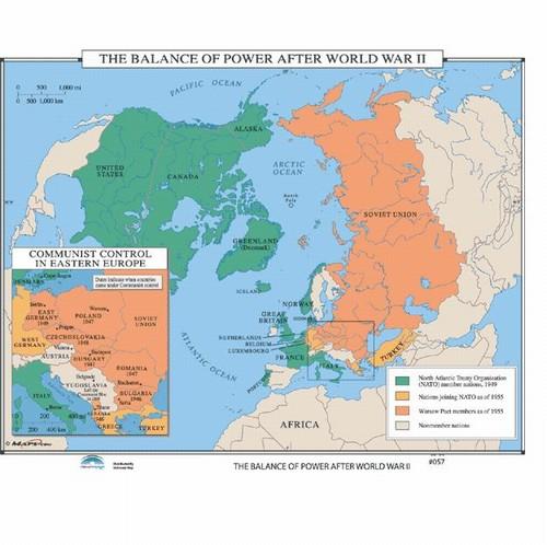 Map of the balance of power after world war ii onlyglobes map of the balance of power after world war ii gumiabroncs Images