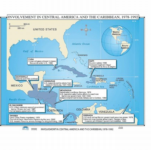 Map of U.S Involvement In Central America & The Caribbean, 1978-1992 ...