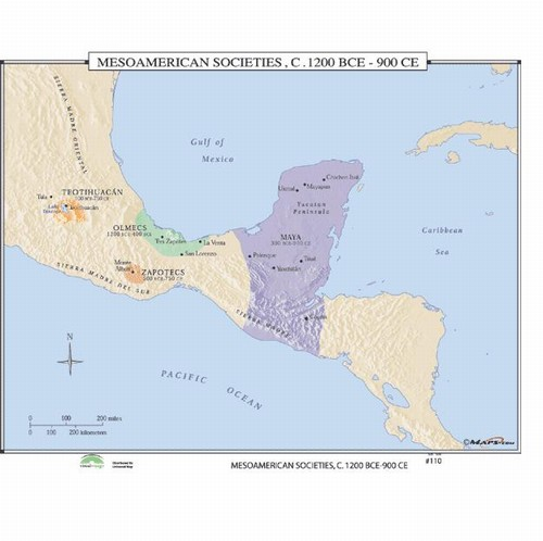 Map Of Mesoamerican Societies 1200 Bc 900 From Onlyglobes Com
