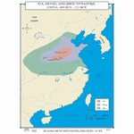 Map of Xia, Shang & Zhou Dynasties, China, 400-221