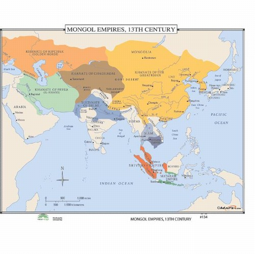 Map of Mongol Empire, 13th Century from OnlyGlobes.com