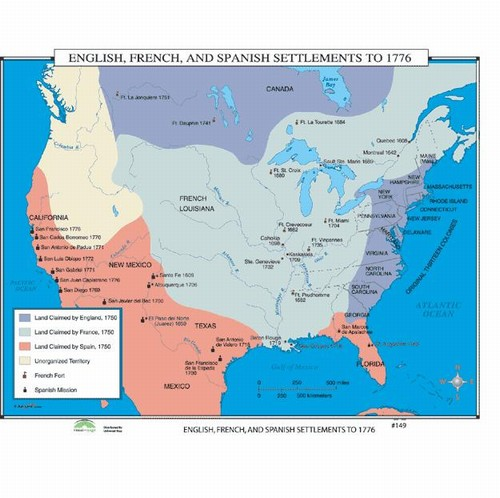 Map of French Spanish English Settlements In North America To