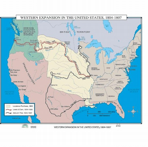 Map of Western Expansion In The US, 1804-1807 from OnlyGlobes.com