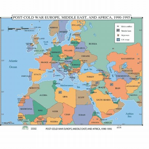 Map Of Post Cold War Europe Middle East Africa 1970 1995 From