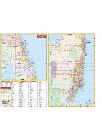 Southeast Florida Map.Southeast Florida Wall Map From Onlyglobes Com