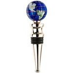 Caribbean Blue Gemstone Globe Wine Bottle Stopper