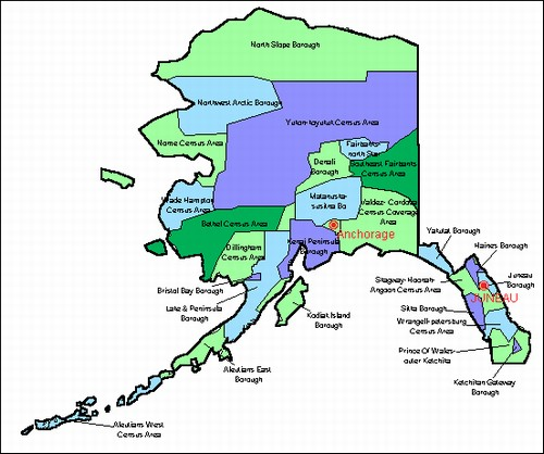 County Maps Of Alaskafrom OnlyGlobescom - Alaska county map