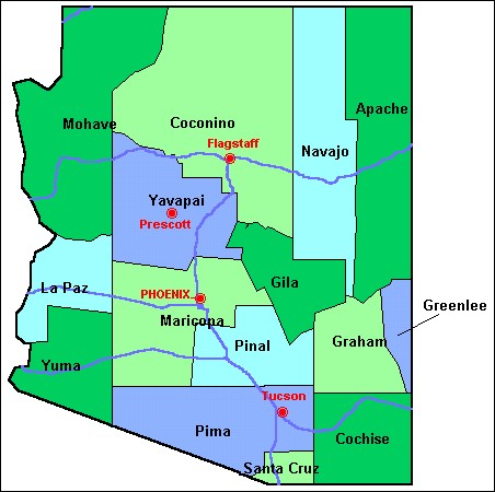 County Maps of Arizona from OnlyGlobescom