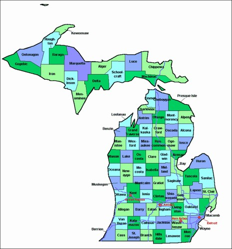 County Maps Of Michigan From OnlyGlobescom - Michigan county map