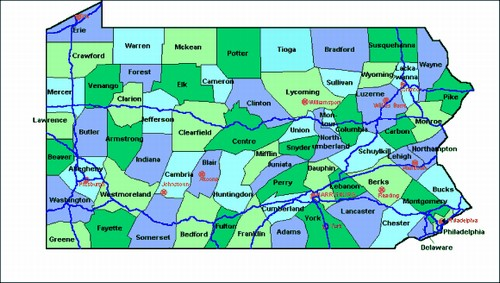 County Maps Of Pennsylvania From OnlyGlobescom - County maps of pennsylvania