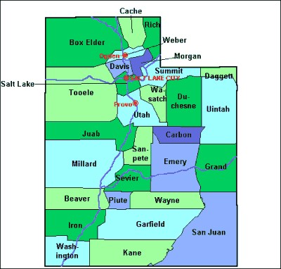 County Maps Of Utah From Onlyglobes Com