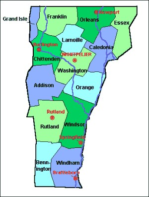 County Maps of Vermont from OnlyGlobes.com