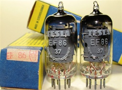Brand New MINT NOS NIB 1975-76 Trinec Production ORIGINAL NOS TESLA EF86 Square Getter tubes. From the old Czechoslovakia (currently Czech Republic). Tube internals seem to be sourced from RFT with evacuation in Tesla glass bottle.