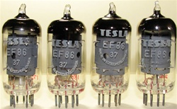 Brand New MINT NOS 1975-76 Trinec Production ORIGINAL NOS TESLA EF86 Square Getter tubes. From the old Czechoslovakia (currently Czech Republic). Tube internals seem to be sourced from RFT with evacuation in Tesla glass bottle.