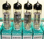 Brand New, MINT NOS NIB 1975 production Tungsram E80CC Tubes with ERGO Label. Made in Hungary. All tubes from the same batch. Non-corrosive alloy pins. Tungsram made some of the finer tubes in Eastern Europe due to its exposure to subsidiaries in Gt. Brit