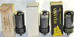 Brand Spanking NEW, Single Tubes MINT NOS NIB Sylvania 1950s-60s 6V6GT Black Plate Black Glass Chrome Dome. Made in USA. Very desirable early Sylvania production.