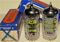 Brand New MINT NOS NIB Rare Feb-1964 Tungsram EF86 - Serialized. Made in Hungary. Non corrosive alloy pins. NOT relabeled RFT E. German tubes which are common. Tungsram made some of the finer tubes in Eastern Europe due to its exposure to subsidiaries in