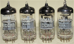 Like New, Late 1960s Brimar AKA Ediswan ECC88 6DJ8 tubes with Thorn-AEI (Brimar), Rochester Plant Date Etched Date Codes. BVA Logo. Made in England. Awesome British ECC88 tube. Tested and closely matched on Top of the Line Calibrated Hickok 580 Lab Grad