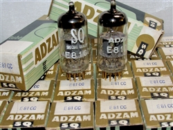 Brand Spanking New, MINT NOS NIB 1967 VALVO Hamburg SQ QUALITY E81CC 6201 12AT7WA Gold Pin tubes with ADZAM Label. These are premium version of ECC81/12AT7 Type tubes. Valvo Hamburg production date codes of DF6 D7I2/D7I3/D7I4. Made in West Germany.