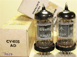 Brand New MINT NOS NIB Rare 1970 BRIMAR CV4035 Box Plate Military tubes. CV4035 Flying Lead is Premium Grade, High Reliability Long Life version of ECC83/CV492/CV4004/6057/12AX7 valves. STC Rochester Plant Date Codes. Made in England.