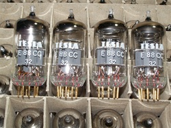 MINT NOS Mid 1970s Original Tesla E88CC 6922 Gold Pin Tubes with Gray Risers. Made by Tesla Rožnov n.p. Závod Vrchlabí in former Czechoslovakia (now Czech Republic). Packaged in generic white boxes from bulk box.