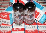 Brand New, MINT NOS Early 1970s Production Funkwerk RFT ECC82 12AU7 Halo Getter tubes relabeled by Togram. Made in E. Germany. Excellent tube for Audio and Guitar use.
