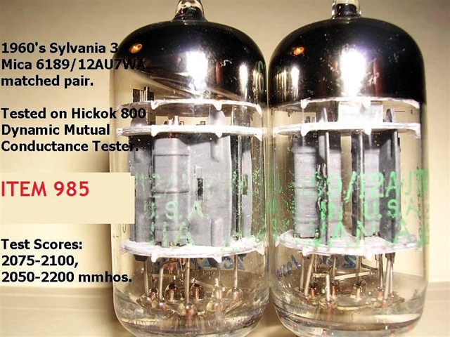 Brand New Mint Nos 1960s Sylvania 3 Mica 618912au7wa Tubes With