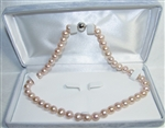 Freshwater Cultured Pearl Necklace Grade AAA 8.5mm to 9.5mm pink with a little purple shade - 17.5 inch