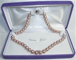 Freshwater Cultured Pearl Necklace Grade AAA 9.5mm to 10.5mm pink with a little purple shade - 17.5 inch